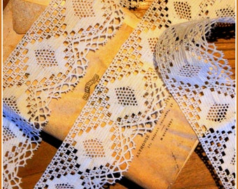 Four and a half yardsof vintage French machine lace trim, Auvergne style.