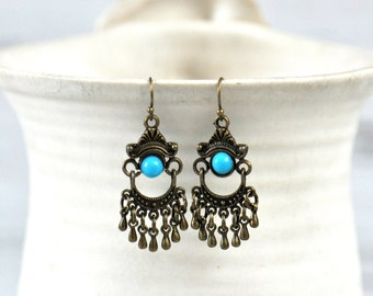 Turquoise and Bronze Dangle Earrings- Turquoise Earrings- Turquoise- Dangle Earrings- Boho Earrings- Boho Jewelry- Gift for Her