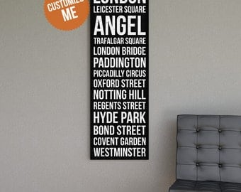 LONDON Subway Style Wall Art - Gallery Wrapped Canvas Print.