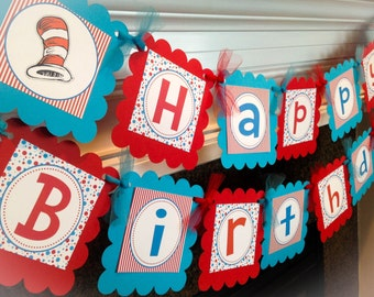 Dr. Suess Cat in Hat Inspired Happy Birthday Banner - Turquoise and Red - Party Pack Specials Available