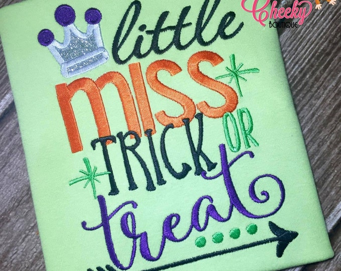 Little Miss Trick or Treat Embroidered Halloween Shirt - Boys Halloween Shirt - Girls Halloween Shirt - Fall Shirt