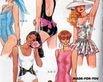 McCalls 4810, Misses Size 12 Swim Suit Pattern, Lined Bathing Suit High or Low Neckline and Back Deep U Neck Option, High or Low leg Cut