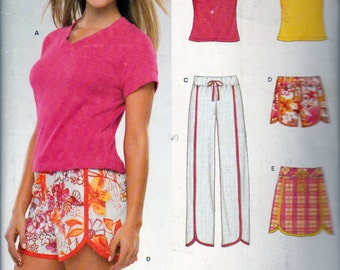 New Look 6358, Misses Sizes 8 to 18, Summer Clothing, T Shirts, Scalloped Edge Shorts Skirt and Pull On Pants, Pull On Shorts, Pull On Skirt