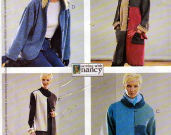 McCalls 3336, Misses Petite Unlined Patchwork Coat, Jackets and Vest Sewing Pattern, Sizes 8 to 22 Included,Short or Long Coats Pattern