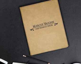 Large Tan Leatherette Personalized Portfolio, Corporate Office Gift, Custom Engraved Gift
