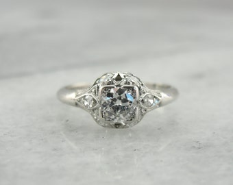 RESERVED Edwardian Engagement Ring with European Cut Diamond and Platinum Engagement Ring  T3W5QH-P