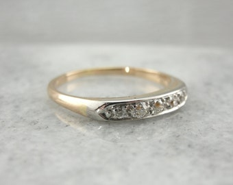 Old Mine Cut Diamond Band in Yellow and White Gold Q970D5-D