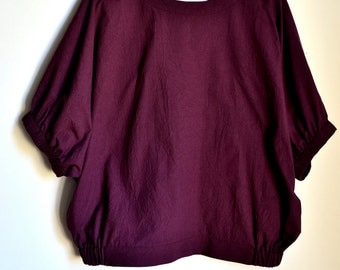 Dolman Sleeve Blouse (M Size) in Port and Navy