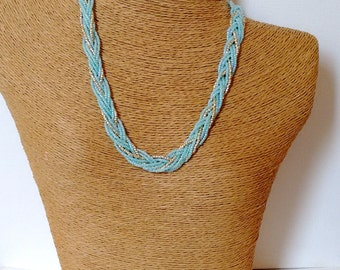 Mint and gold necklace, aqua necklace, beaded necklace, seed bead necklace, bridemaids necklace,wedding jewelry,braided necklace, braid