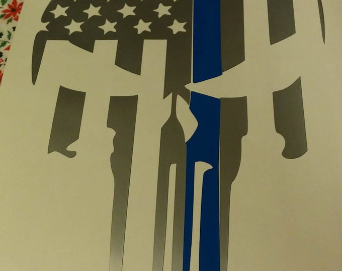 Thin Blue Line Punisher Two Color Vinyl Decal