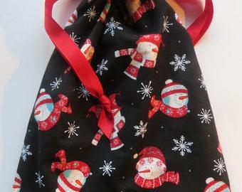 Winter Snowman Snowflake Lined Drawstring Fabric Bag