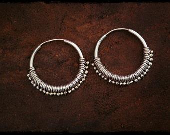 Indian Ethnic Hoop Earrings - Silver Hoop Earrings - Ethnic Silver Hoops - Boho Silver Earrings - Gypsy Hoop Earrings