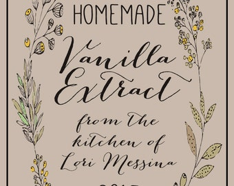 """Homemade Vanilla Extract Labels (2""""x3"""") KRAFT, Shower Thank You Labels, Canning Labels, Rustic Wedding Bottle Labels, Homemade Food Labels"""