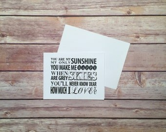 "Greeting Card, Love You, Anniversary, Valentine's Day, Mother's Day, Father's Day, You are my Sunshine Card (4"" x 6"")"