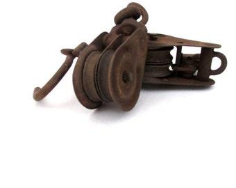 Vintage Block and Tackle / Double Metal Pulleys / Barnyard Locking Pulley Pair / Rustic Sheaves