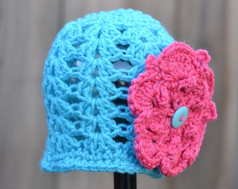 Crocheted Shell Stiched Beanie Girl Infant Teal with Pink Flower Ready to Ship