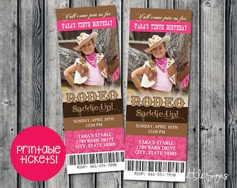 Rodeo Ticket Girl Birthday Invitation Digital Download