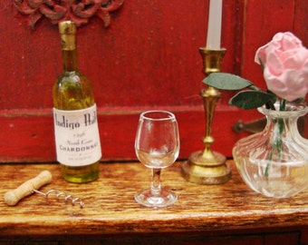 Real Glass, Wine Glass  1:12 Scale Miniature Dollhouse Accessory