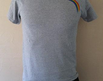 Rainbow Embroidered T-Shirt - Heather Grey