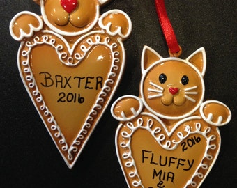 Personalized Gingerbread Dog or Dog Ornament