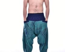 Teal Samurai Pants, Harem pants, Yoga pants, Thai pants, New Style pants, 100% Cotton(Unisex) One Size Fit All
