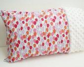 Travel or Toddler Size Pillowcase - Pink and Purple Balloons on Blue - White Minky Edge Pillowcase - Girls Pink Pillowcase -Toddler Gift