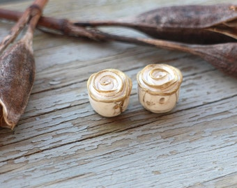 Made to order - Pair golden topped Rustic Roses, polymer clay rose bead, stylized folk art rose, cream and gilt gold color rose art beads