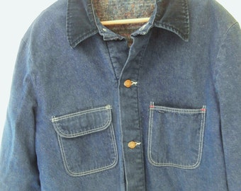 Vintage, Denim, Blanket Lined, Barn Coat, WRANGLER, BLUE BELL, Size 44