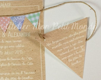 Invitation wedding or baptism kraft flags (set of 8) Liberty Liberty peas vichy scratches (additional product)