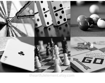 Game room decor, Home decor prints, Play room wall art, Board game art, Black and white art, Set of 6 prints // Classic games photo set