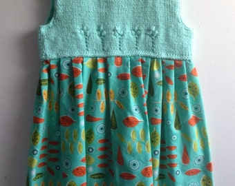 girl hand knitted dress with fabric skirt, 100% cotton aqua green yarn, cotton fabric skirt autumn leaves red orange yellow