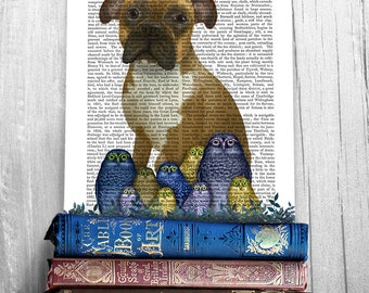Boxer Dog Print - Boxer and owls print - boxer dog gift boxer art print boxer owner gift dog print dog illustration dog nursery art owl art