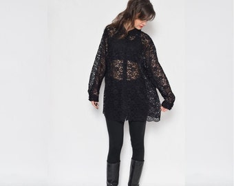 Vintage 90's Sheer Lace Buttons Up Blouse / See Thru Black Long Sleeve Shirt