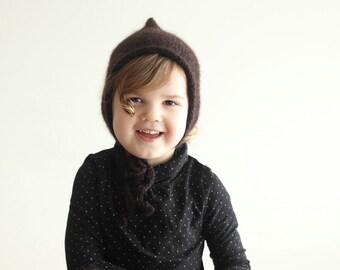 baby pixie hat, knit pixie bonnet, mohair bonnet, mohair pixie, brown bonnet, baby bonnet, newborn bonnet, toddler bonnet, autumn bonnet