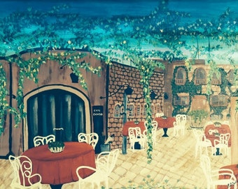 Italian Cafe at Dawn - Acrylic on Canvas Unique Painting