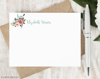 Personalized Pretty Stationary Set / Flat Personalized Notecard / Stationery Note Card Set / Painted Watercolor Flower // MULTI FLOWER I