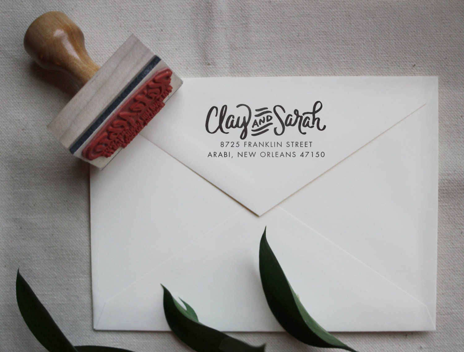 Custom Hand Written Calligraphy Stamp Return Address Wood