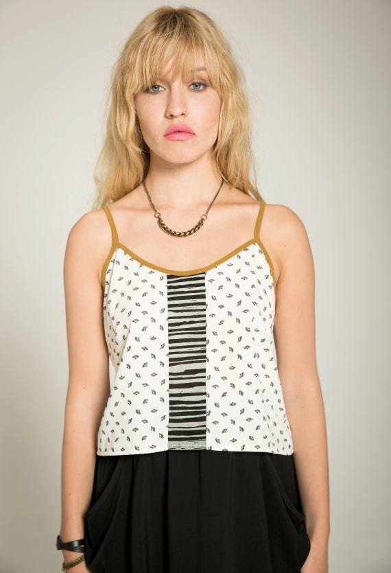 THE LOOK - thin strap crop top, cami for women - white with paper fans prints