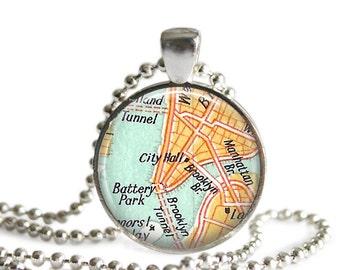 Brooklyn map necklace vintage New York City bridesmaid gift Brooklyn wedding favors.