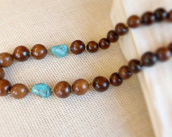 Blue turquoise chunky wood necklace , Round wooden beads strand necklace , Anniversary gift idea for wife