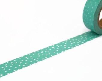Teal Washi Tape with White Spot Design - Blue Decorative Masking Tape