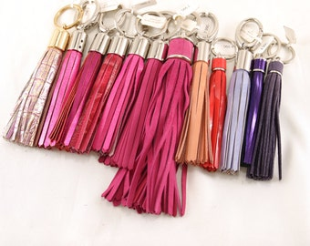 Leather TASSEL keychain, bag charm, fringe, bridesmaid gift // rose, pink (Italian calf leather) - FREE SHIPPING, unique