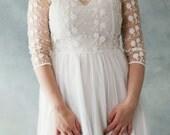 Affordable and Elegant Lace Boho Vintage Long Sleeve Wedding Bridal Dress with  Silk Chiffon Train