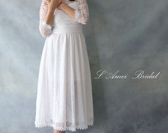 Custom Alice in the Garden Long Sleeved Vintage Style Lace Wedding Dress Perfect for Beach or Woodland Wedding - AM1982780
