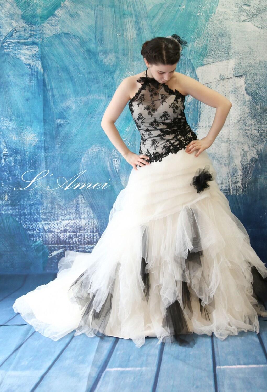 Black gothic style tulle wedding bridal dress ball gown with for Black tulle wedding dress