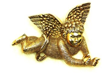 Vintage Angel Brooch / Pin Gold Tone, 1970s, Renaissance Look, Christmas Angel
