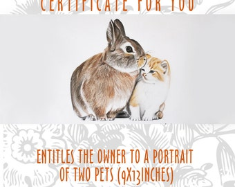 Gift certificate/ pet gift/ custom portrait/ from photo/ animal lovers/ gift idea/ drawing couple pets