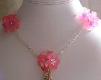 Black and Pink Flower Jewellery Set