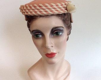 50s Peach Pink Straw Pill Box Hat / 1950s Modern Miss Vintage Striped Ribbon Pom Pom Hat