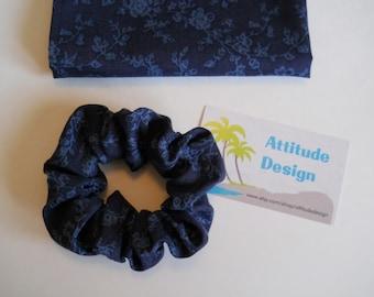 Navy With Deep Blue Vines Scrunchie